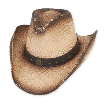 RAFFIA HAT W/FAUX LEATHER TRIM  BRIM 3.5""