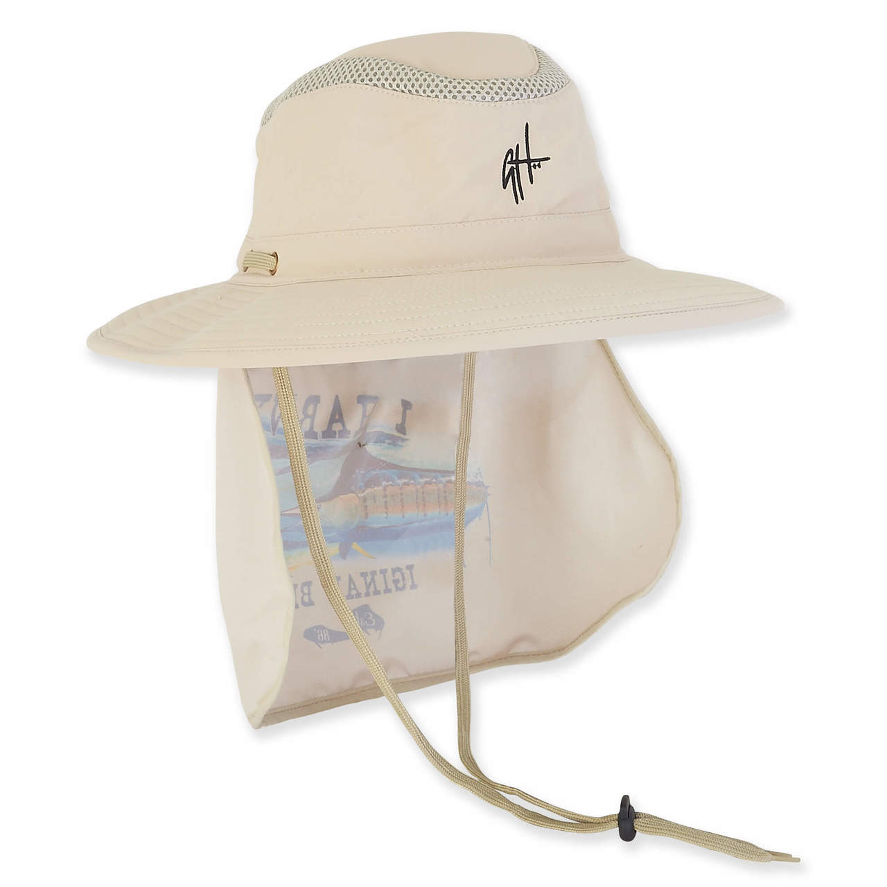 GUY HARVEY BREATHABLE NYLON HAT W SIZER   DRAWSTRING CHIN CORD - Sun ... 9ec4bcbc826a
