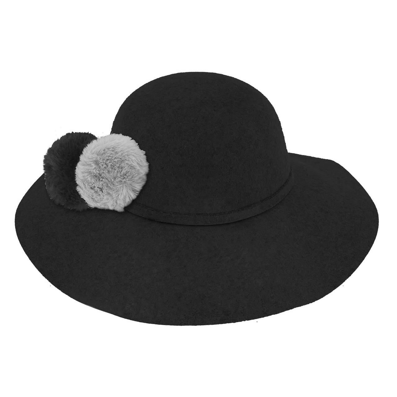 807b1bb21e6e85 ... Wool Felt Floppy with two Tone Faux Fur Pom Pom | Black