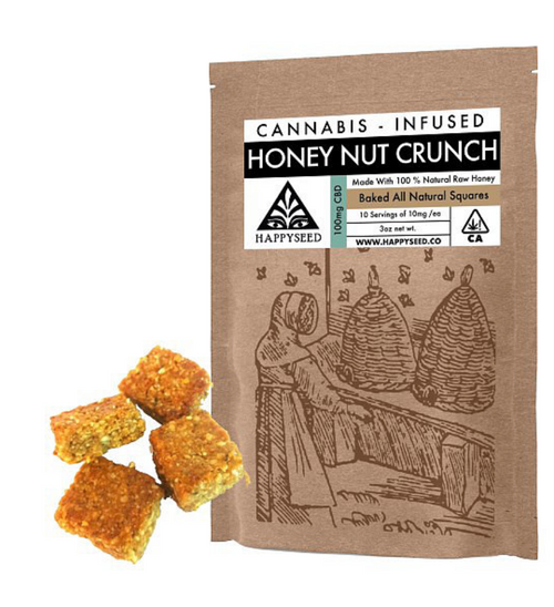 HappySeed CBD Cannabis Infused Honey Nut Crunch Baked Squares