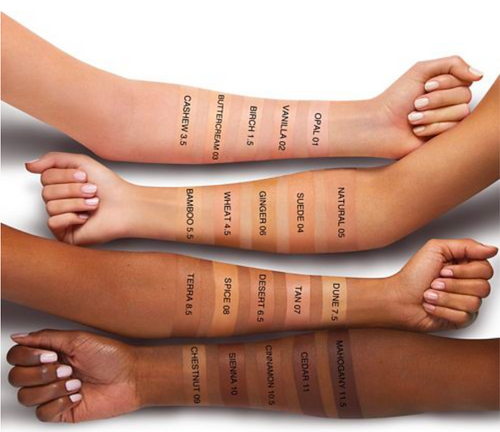 bareMinerals Complexion Rescue Hydrating Foundation shade swatches