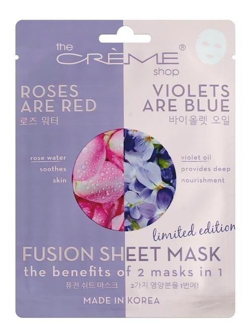 The Crème Shop Rose Water & Violet Oil Fusion Facial Sheet Mask