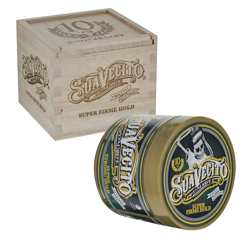 Suavecito 10th Anniversary Super Firme Hold Pomade with collector's wood box