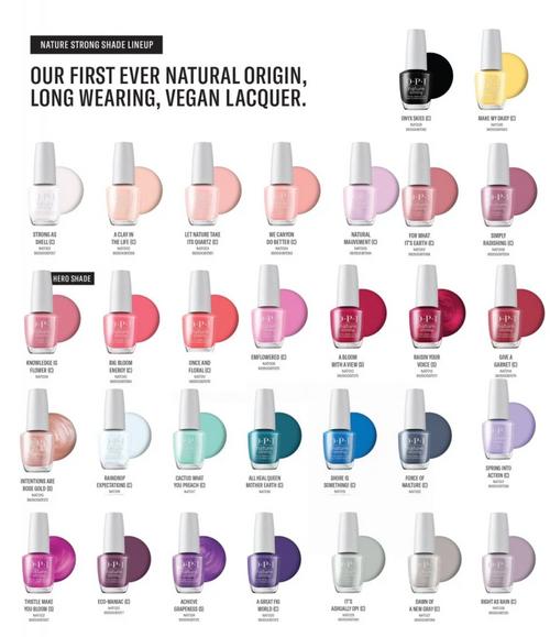 OPi Nature Strong Nail Polish Shade Chart