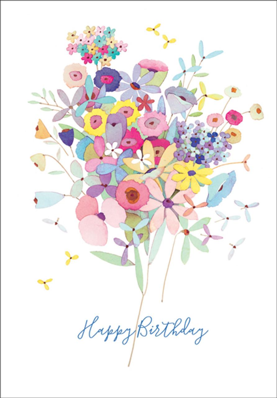 bouquet of flowers birthday cardbu156  shopittakestwo