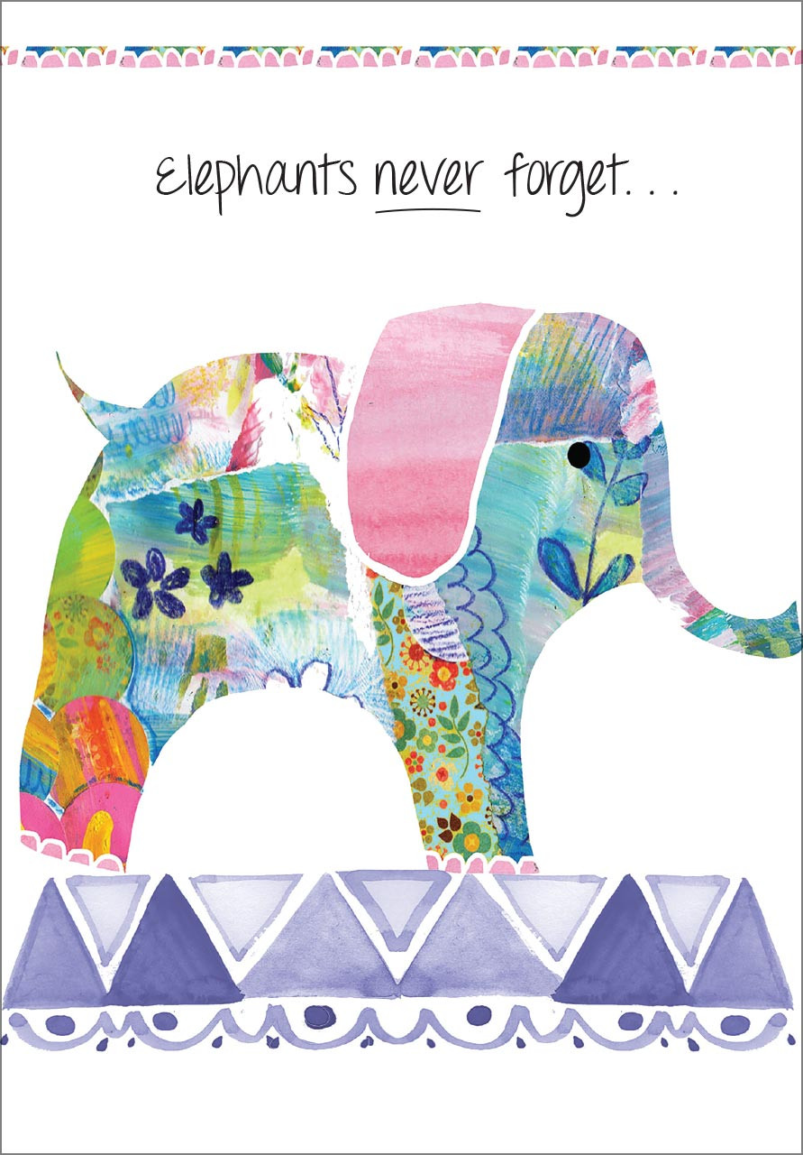 Elephants Belated Birthday Card