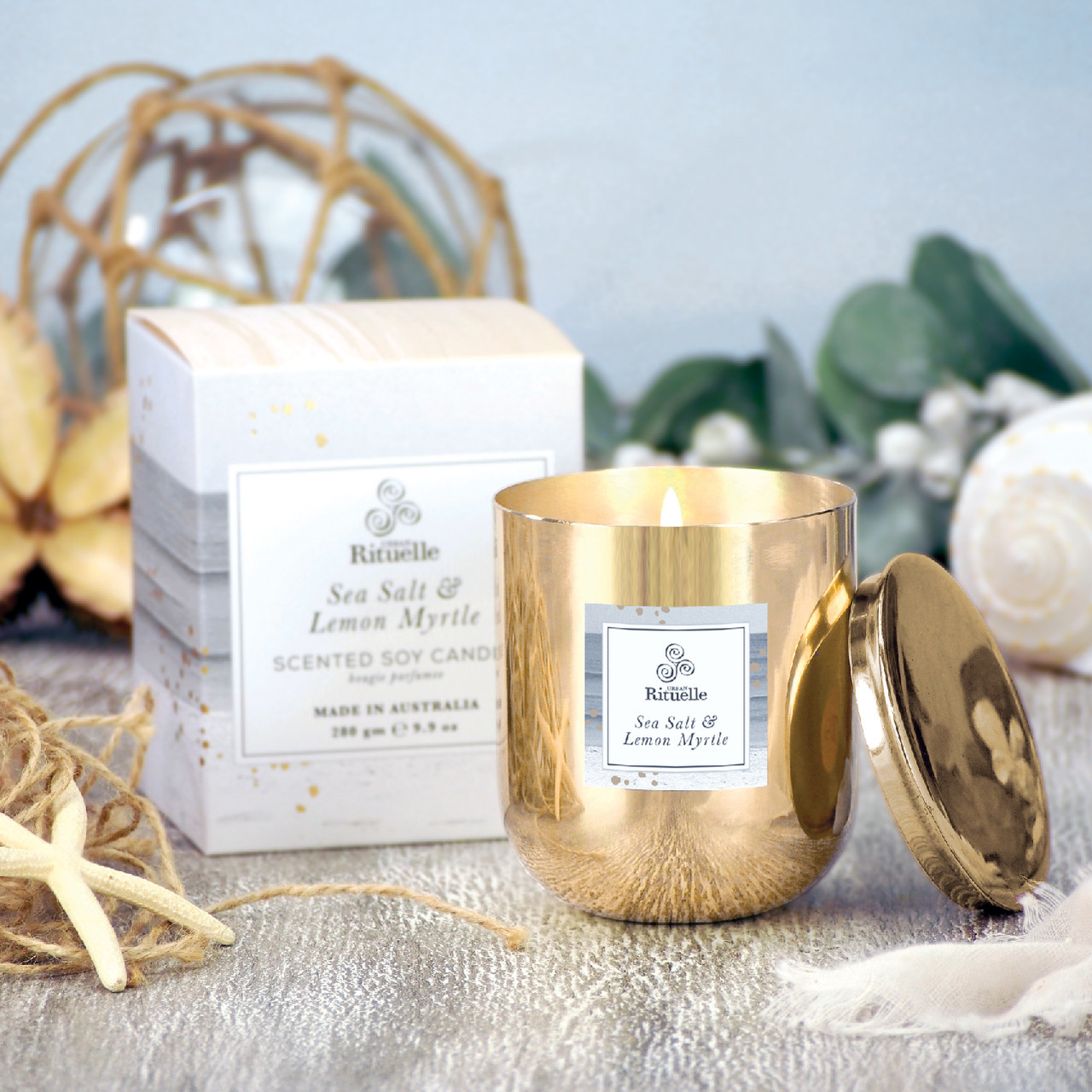 Summer Holiday - Sea Salt & Lemon Myrtle - Scented Soy Candle Brass Jar - Urban Rituelle