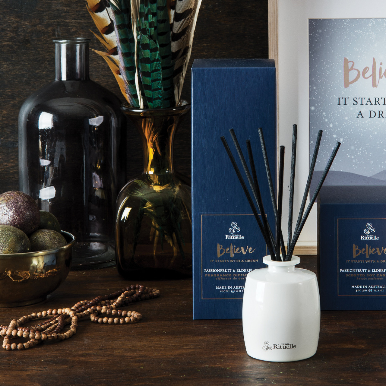 Scented Offerings - Believe - Passionfruit & Elderflower - Fragrance Diffuser Set - Urban Rituelle