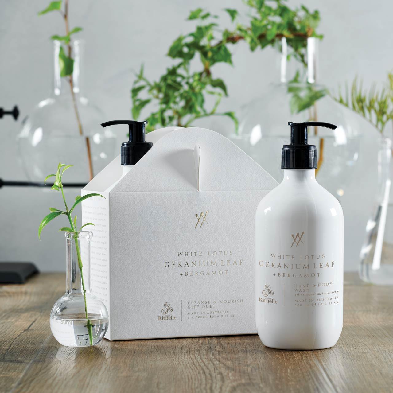 Alchemy - White Lotus, Geranium Leaf & Bergamot - Cleanse & Nourish Gift Duet - Urban Rituelle