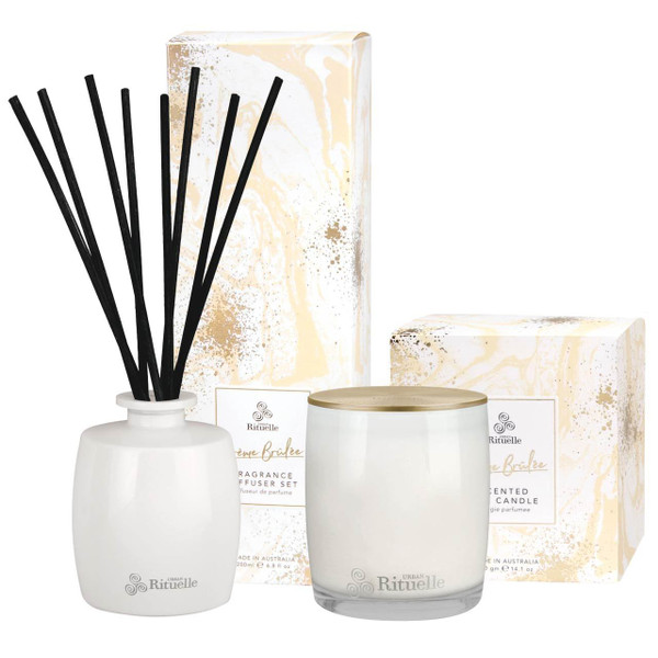 Sweet Treats - Creme Brulee Scented Soy Candle + Reed Diffuser Bundle