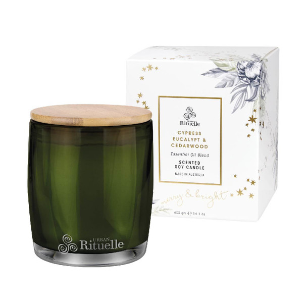 Festive Botanica - Cypress, Eucalypt & Cedarwood - Scented Soy Candle - Urban Rituelle