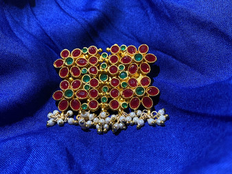 Traditional Design Stone Brooches With Ruby & Emerald