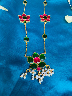 Gold Finish 92.5 Silver Lotus Necklace - Ruby & Emerald