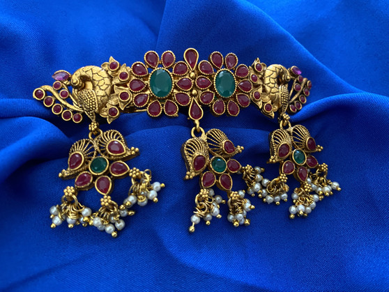 Traditional Design Stone Hair Clips With Ruby & Emerald