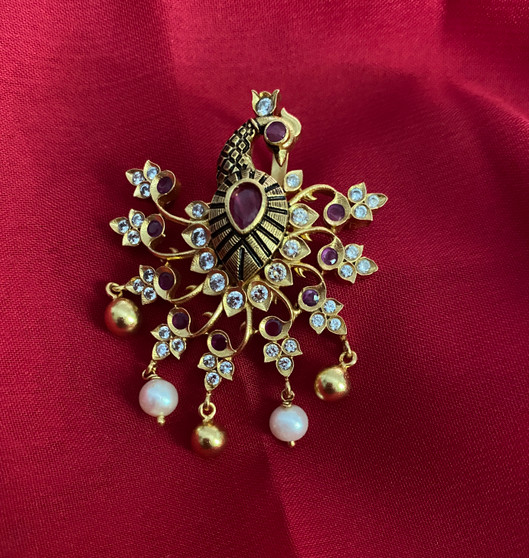 22k Gold Finish Zirconia Stone Peacock Pendant