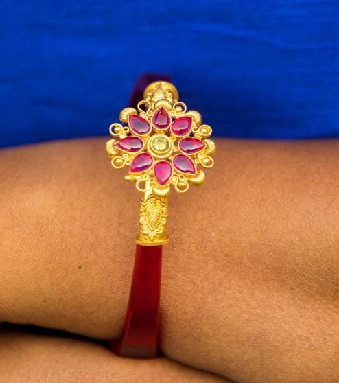 22k Gold Finish 92.5 Silver Bracelet With Ruby & Emerald Ston