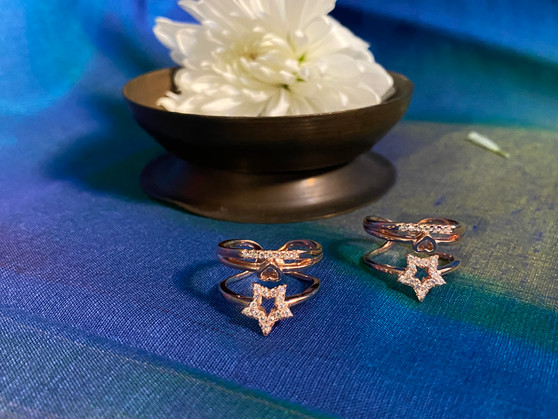 92.5 Silver Rose Gold Polish Toe Rings - Zirconia Stones