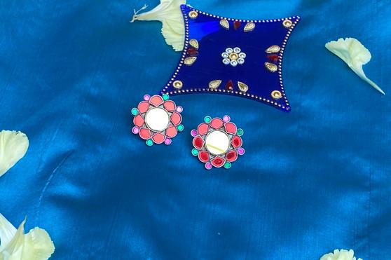 92.5 Silver  Mirror Flower Earring