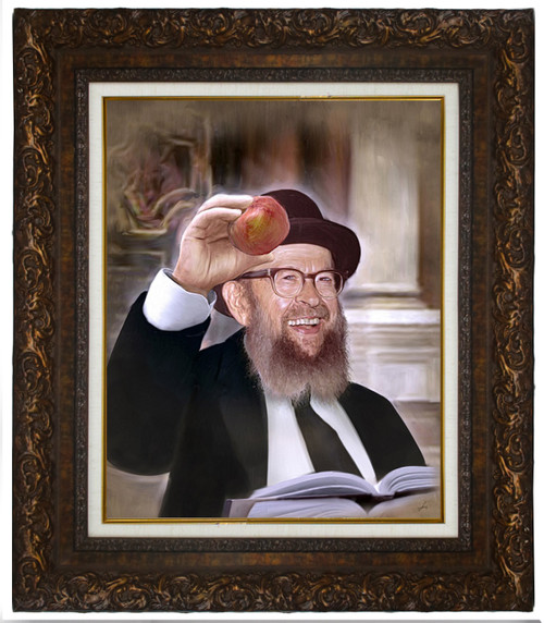 Rabbi Miller with Apple — Framed Painting