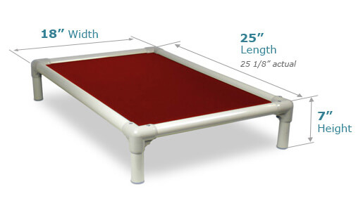 Illustration showing dimensions of Toy Size Bed