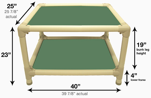 Illustration showing dimensions of 40 x 25 Size Bed