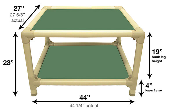 Illustration showing dimensions of 44 x 27 Size Bed