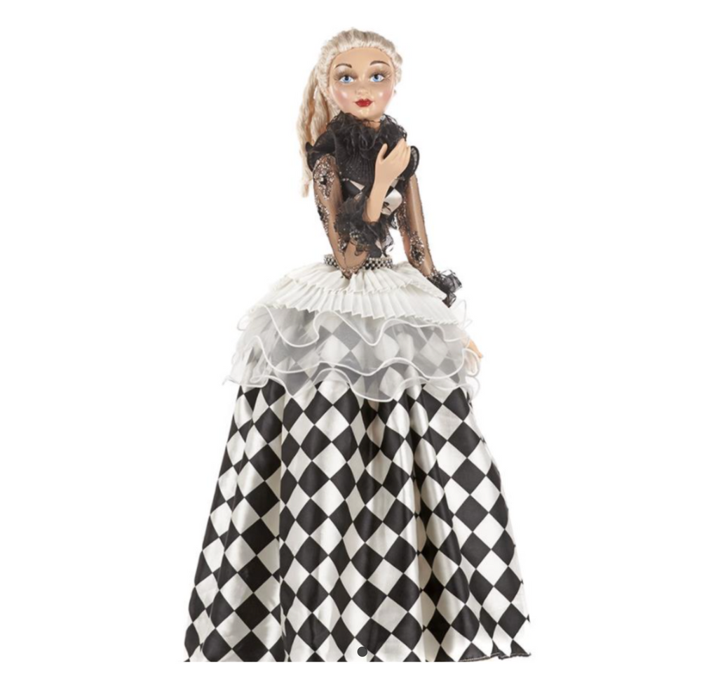 COMMEDIA PIERROT LADY DOLL W/STAND BLK/WH 66CM