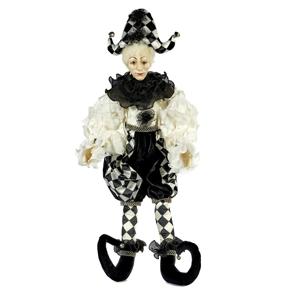 SEQ.JOINTED PIERROT JESTER DOLL WH/BLK 85CM