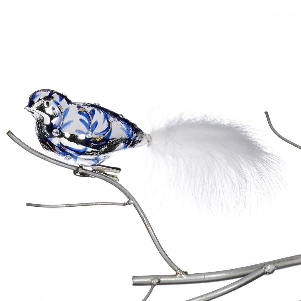 GLSS FEATH.DELFT BIRD ON CLIP WH/BLU 25,5CM
