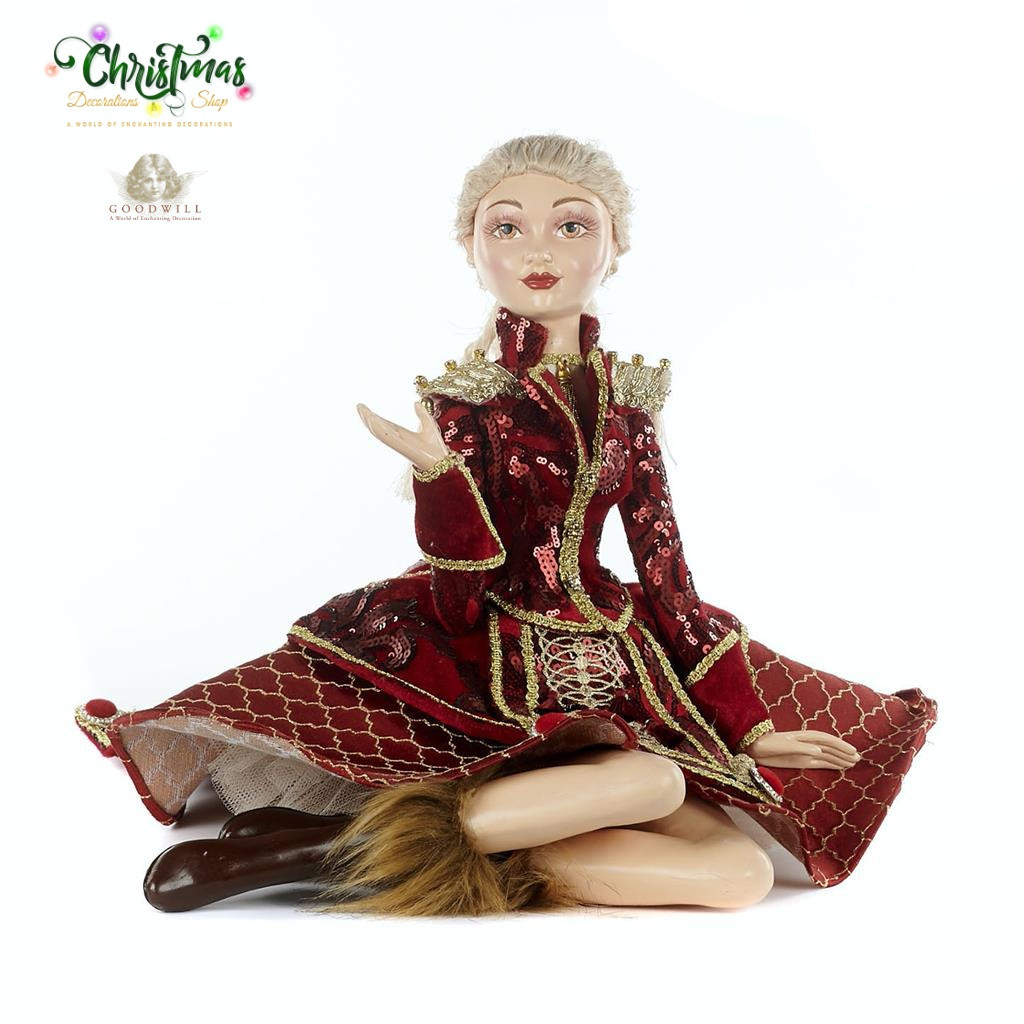 Royal Nutcracker Sitting Doll BURG/GLD 35,5CM