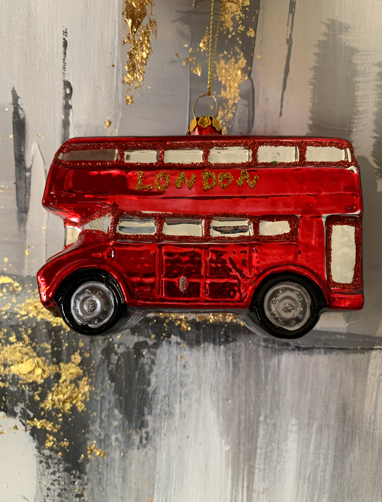 London Red Glass Bus Tree Ornament