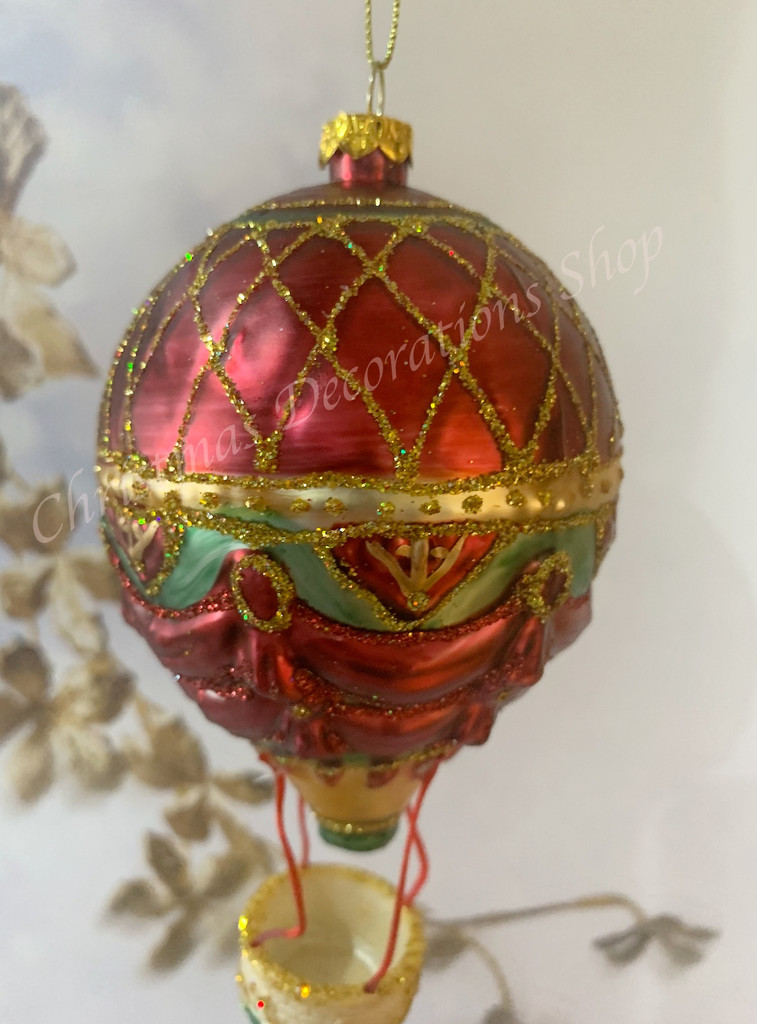 Goodwill Nutcracker Glass Hot Air Balloon Tree Ornament