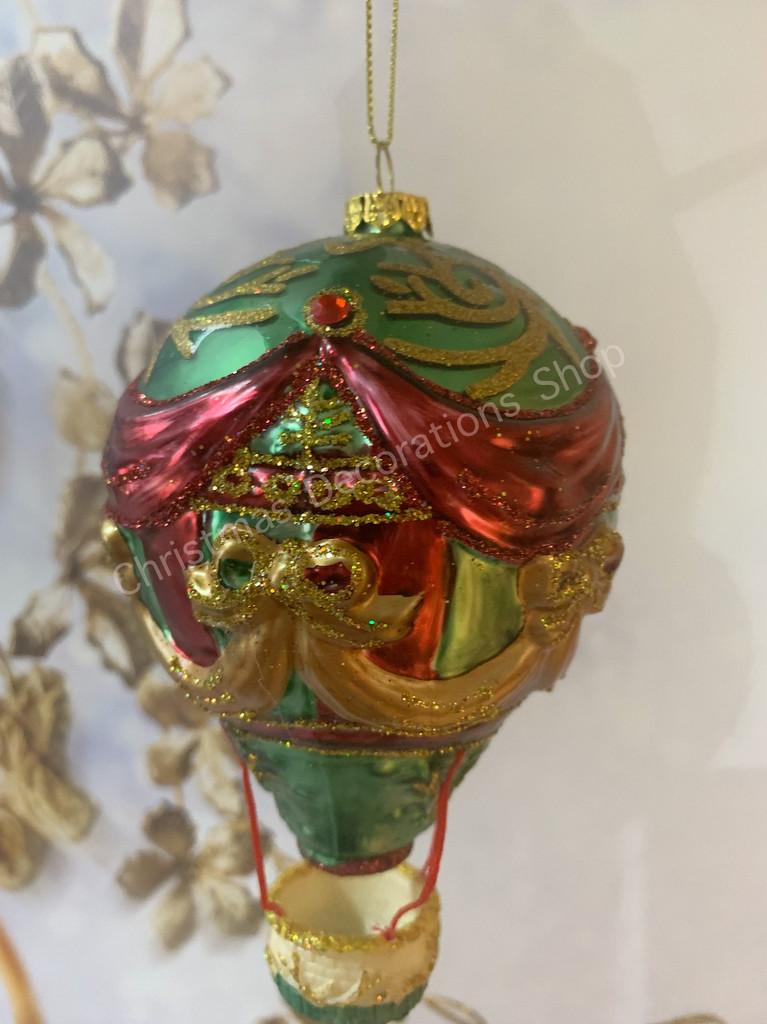 Goodwill Nutcracker Glass Air Balloon Tree Ornament Display