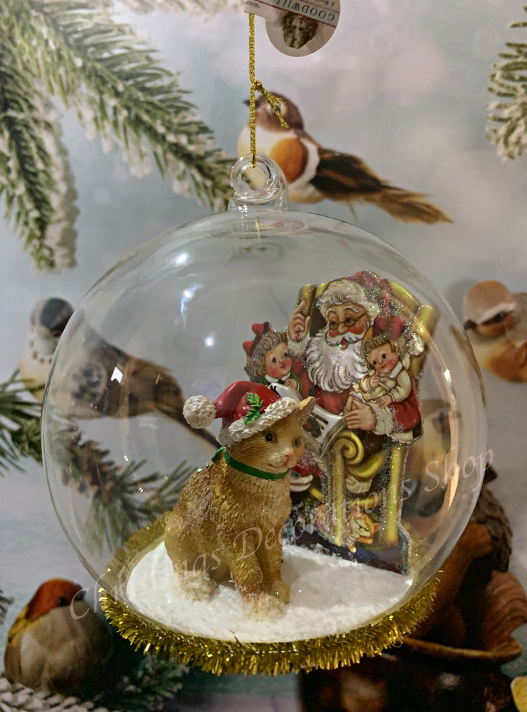 Christmas Glass Cat And Santa Dome Tree Ornament