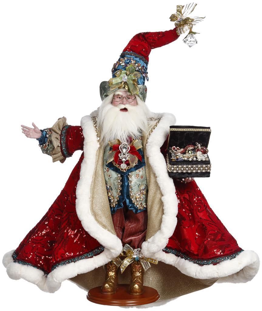 Mark Roberts 2021 Santa Treasure Chest Doll RD/BLU 62CM