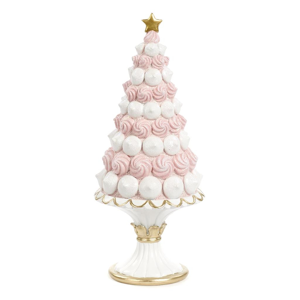 CANDY CONE TREE ON STAND TT PNK/WH 25CM