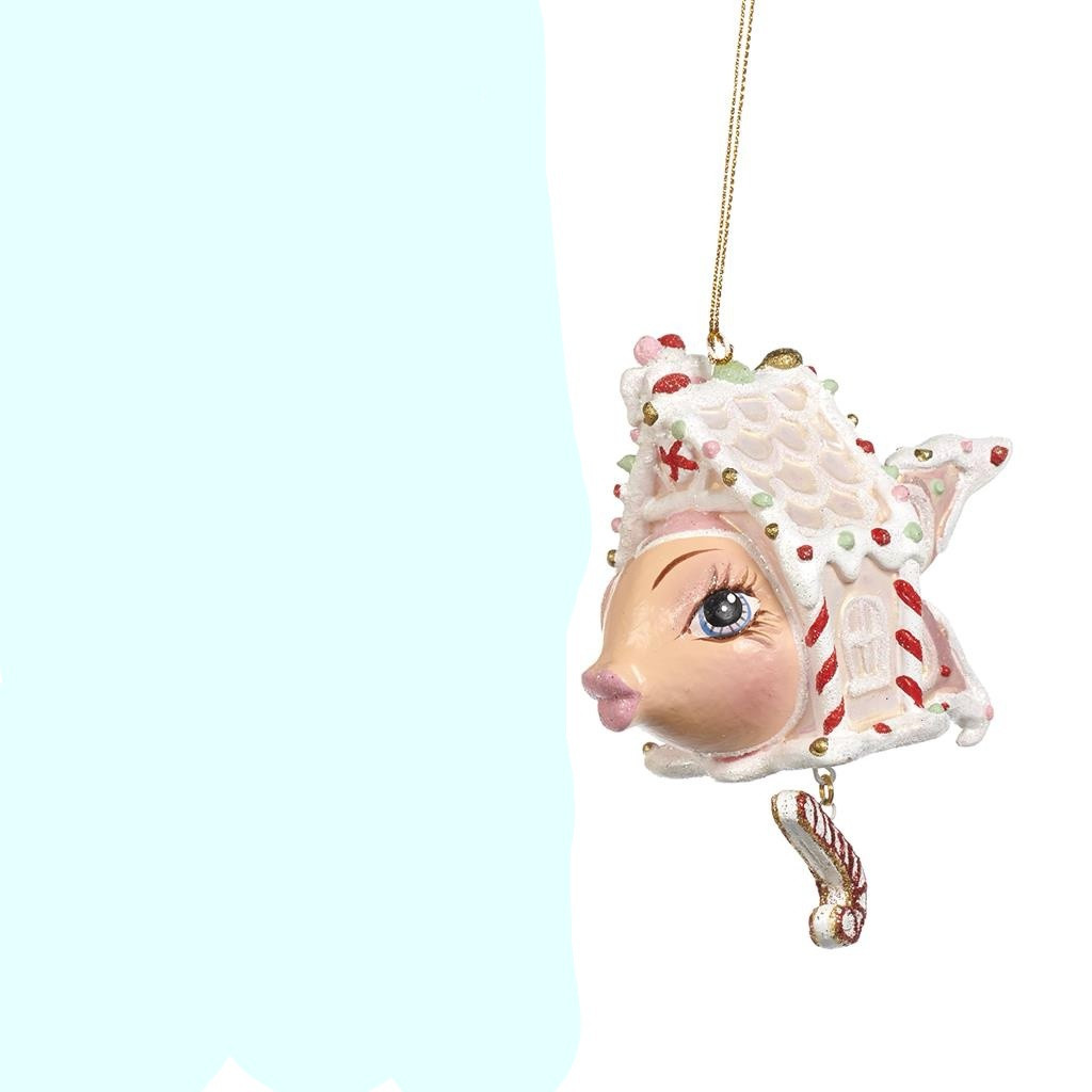 CANDY GINGERBR.FISH ORN / PNK/WH 10CM