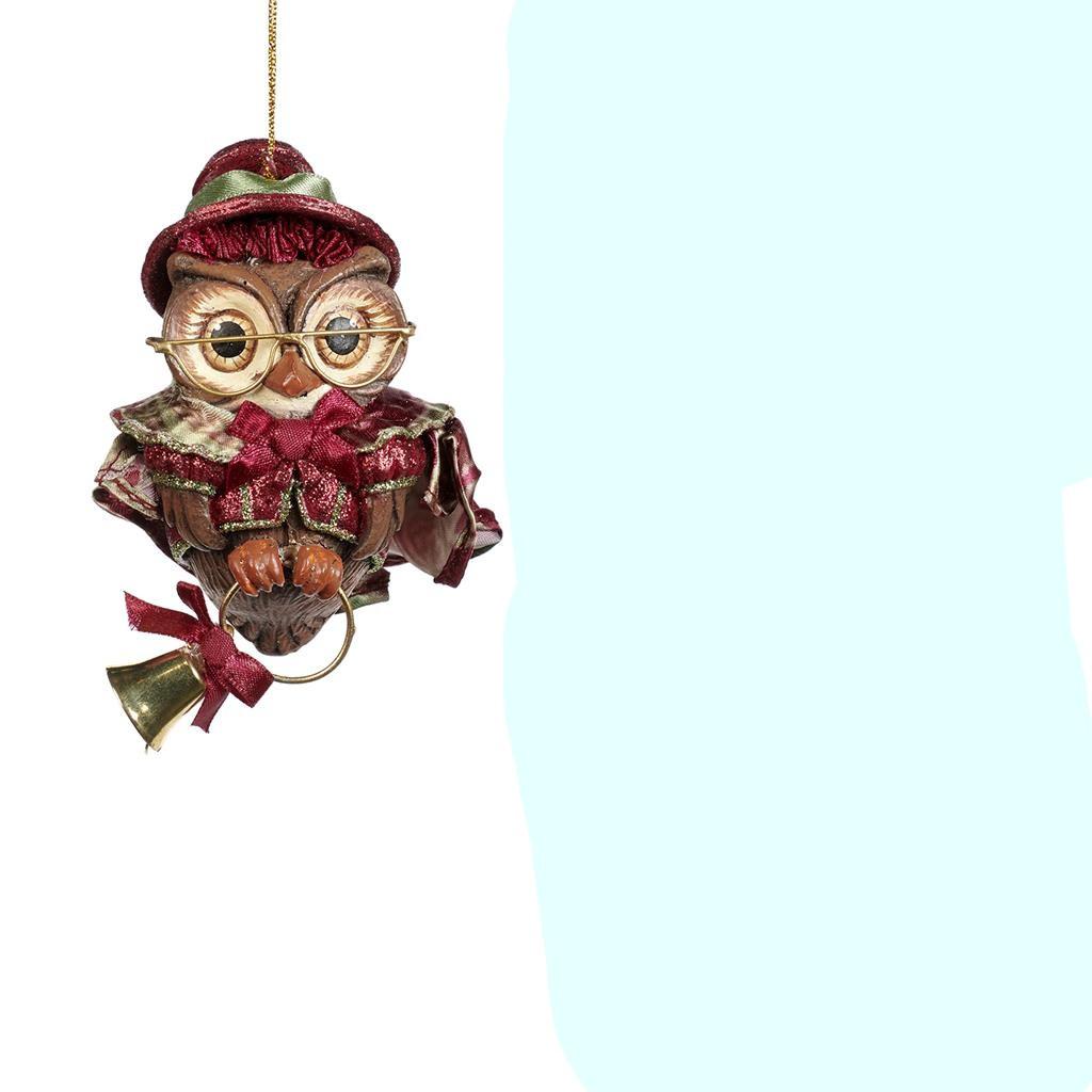 XMAS CAROL GIRL OWL ORN / BURG/GRN 10CM