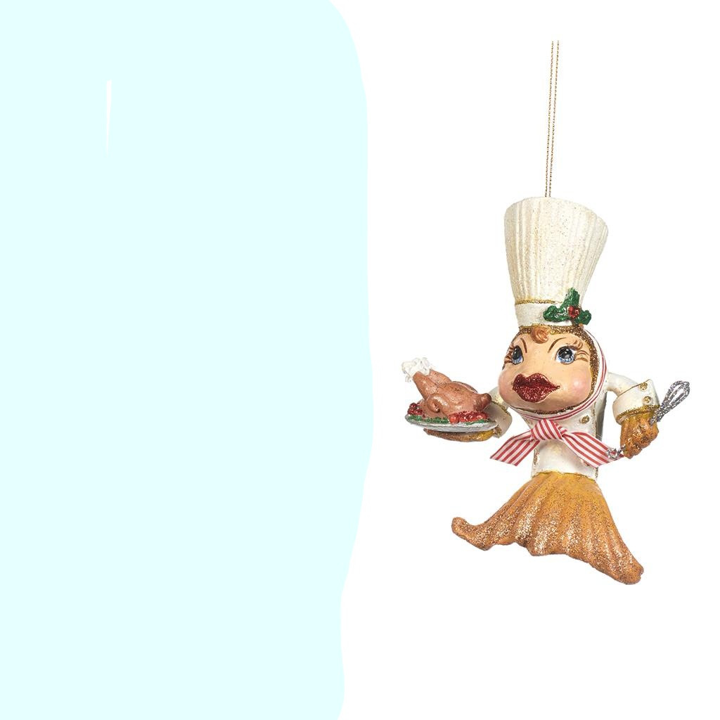 KITCHEN KISSING FISH CHEF ORN WH 13CM