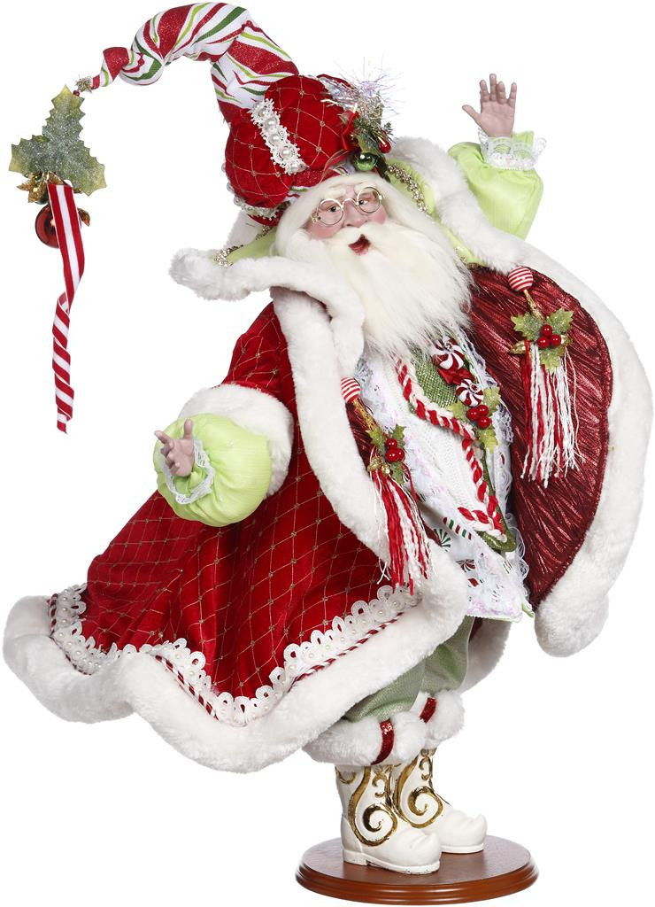 Mark Roberts Candy Cane Santa GRN/RD 58CM