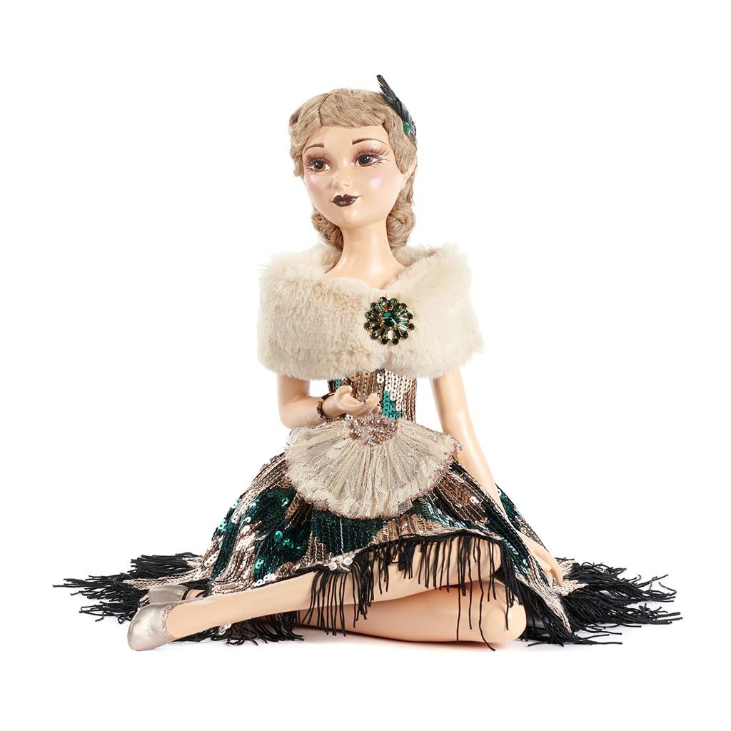 ART D.SITT.FLAPPER LADY DOLL TT GLD/GRN 38CM