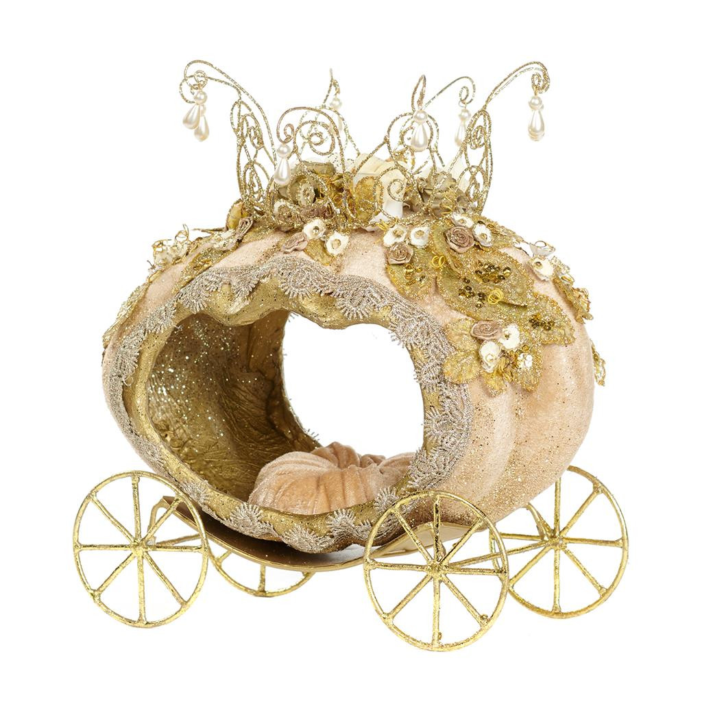 FAIRY TALE PUMPKIN CARRIAGE TT GLD/CRM 32CM
