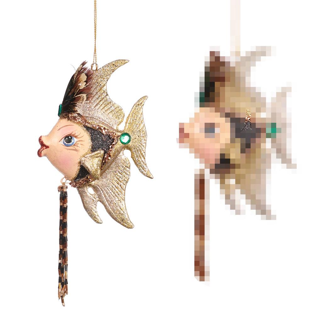 ART D.ANGEL FISH ORN / GLD/GRN/BRWN 13CM