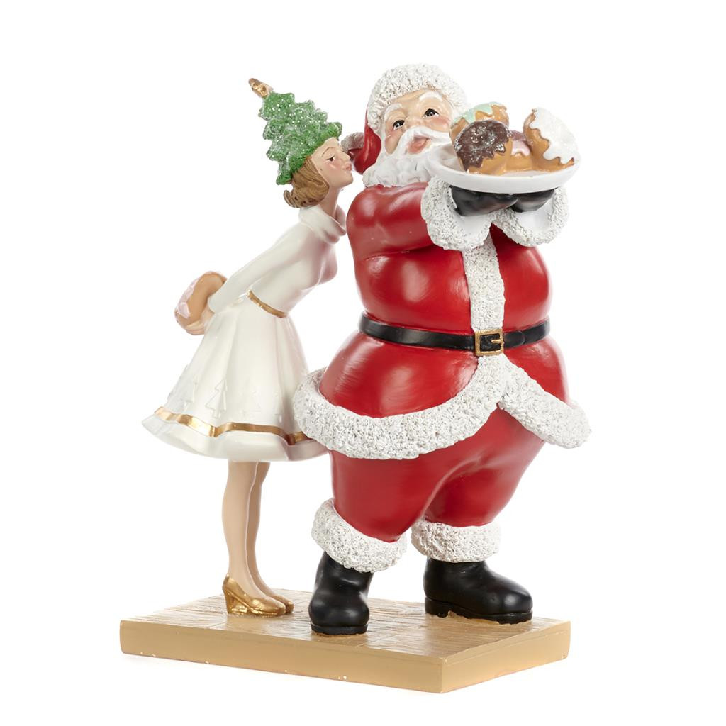 XMAS GIRL KISS.SANTA CHEF TT RD/WH 25CM