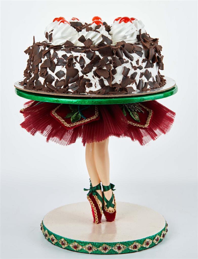 BALLERINA TIPTOE CAKE STAND TT BURG/GRN 25CM
