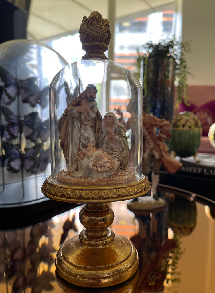 Goodwill Glass Holy Family Dome On Stand Display