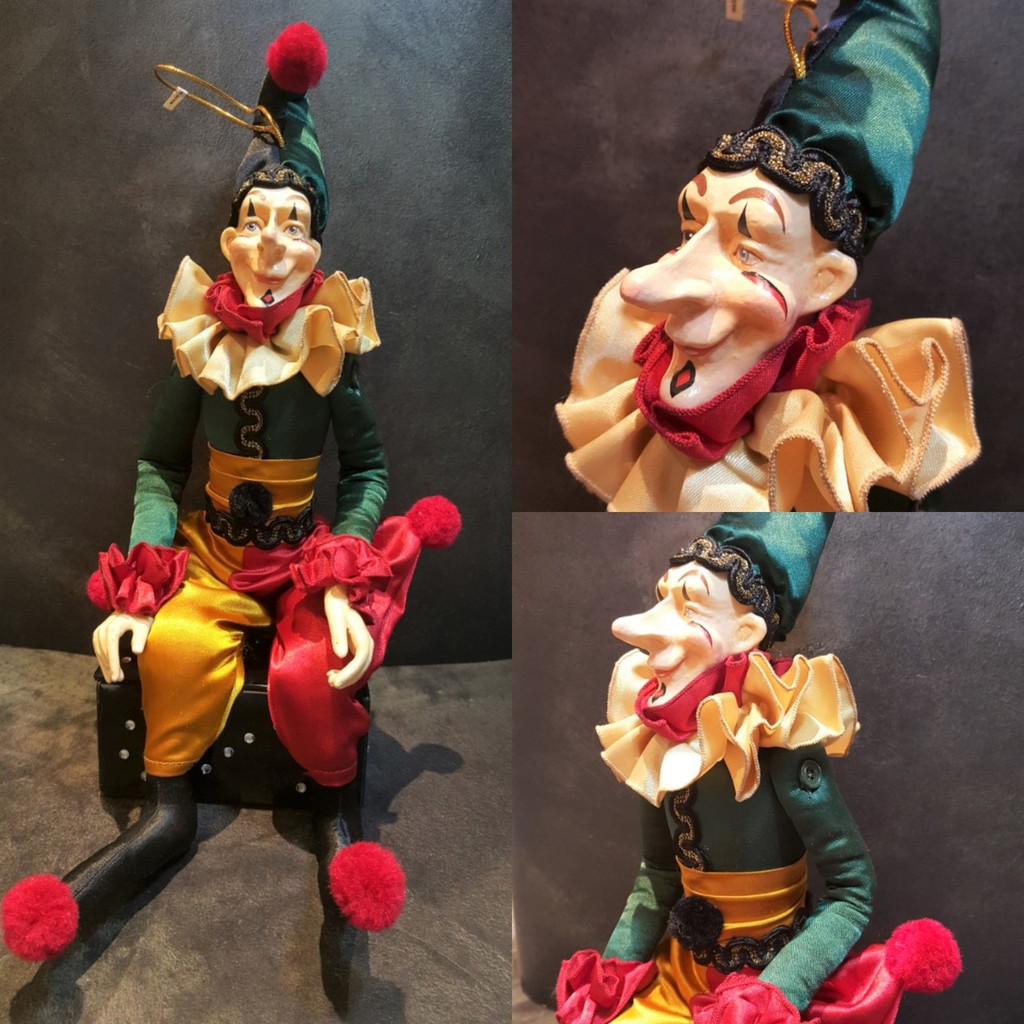 Large Jester Doll Display, Can Be A Table Display Or Large Tree Display, Handmade And Hand Painted With Satin Material, Legs And Arms Can Pose For Your Display.