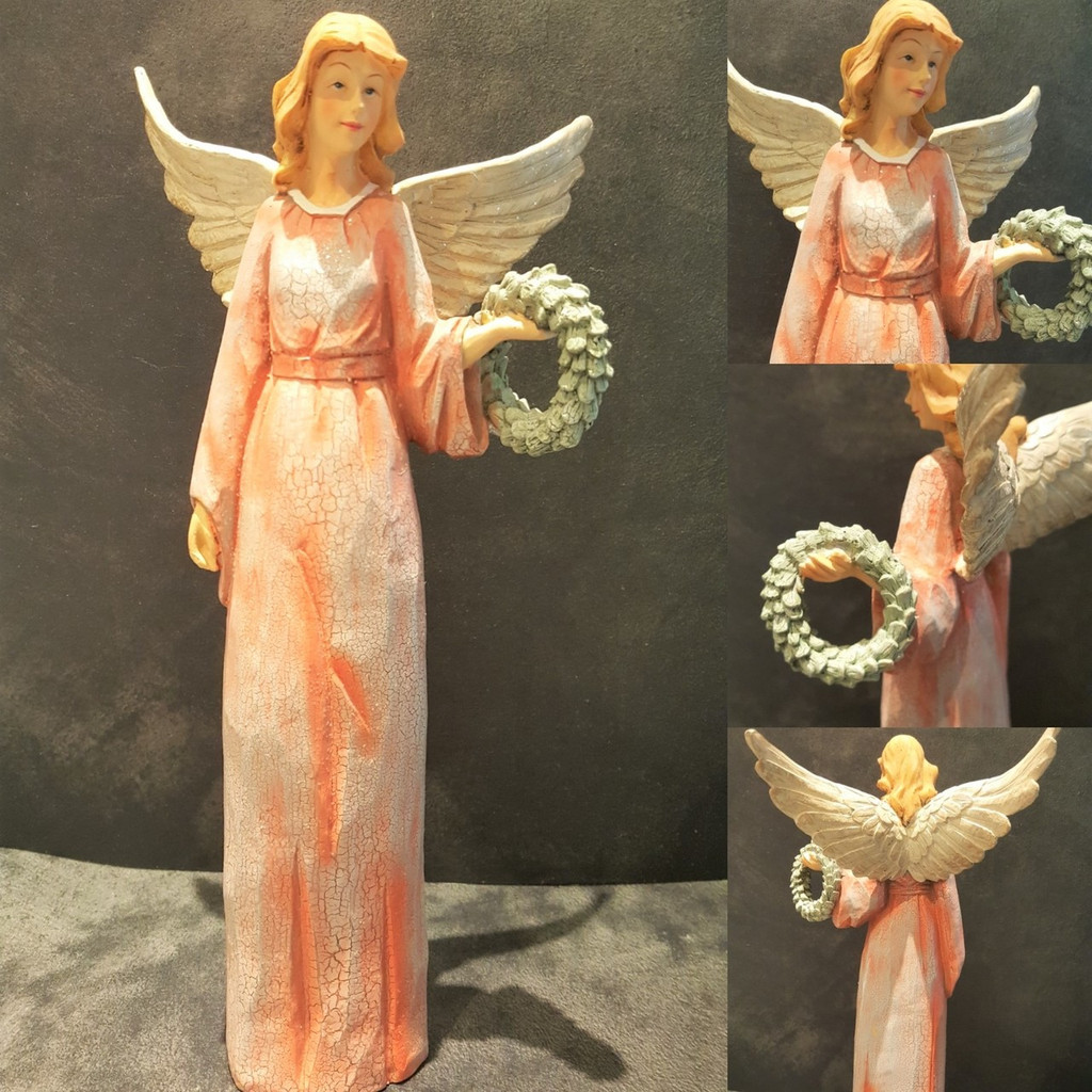 Angel Table Display Ornament Hand Painted With Shimmer Angel Wings