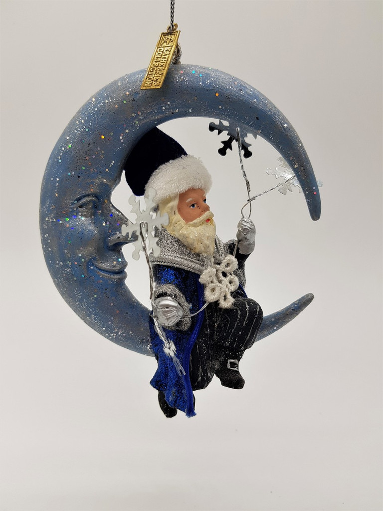 Katherine's Collection Azure Ice Santa On Moon