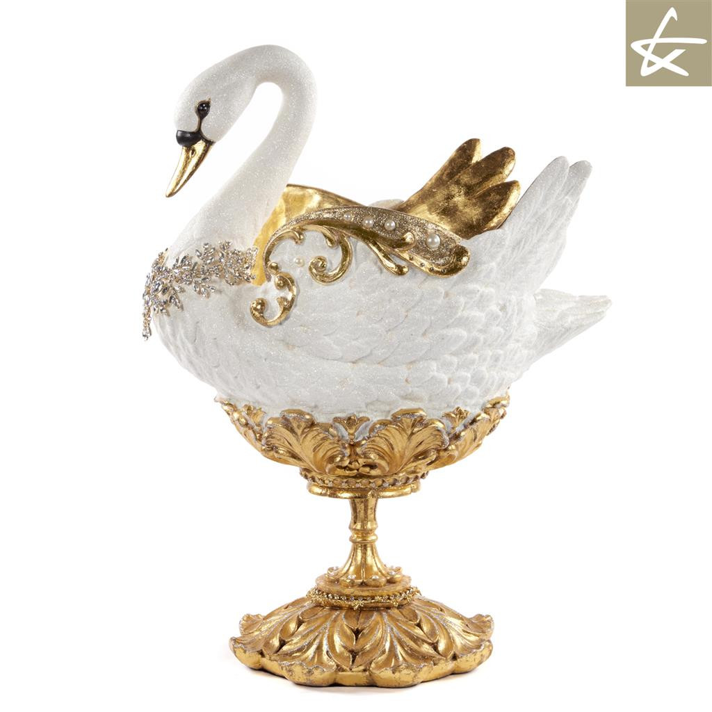 Katherine's Collection Royal White Christmas Swan Display